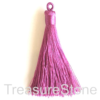 Tassel, silk, 8x68mm, fuchsia. Pack of 2