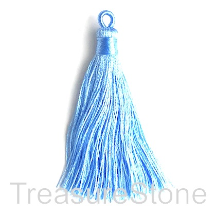 Tassel, silk, 8x68mm, light blue. Pack of 2