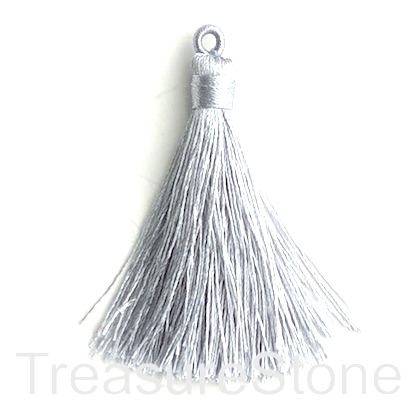 Tassel, silk, 8x68mm, light grey. Pack of 2
