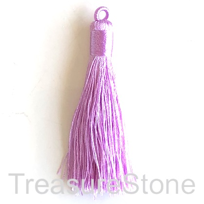 Tassel, silk, 8x68mm, light purple. Pack of 2