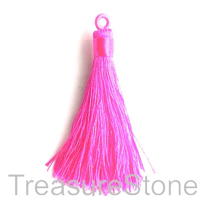 Tassel, silk, 8x68mm, neon pink. Pack of 2