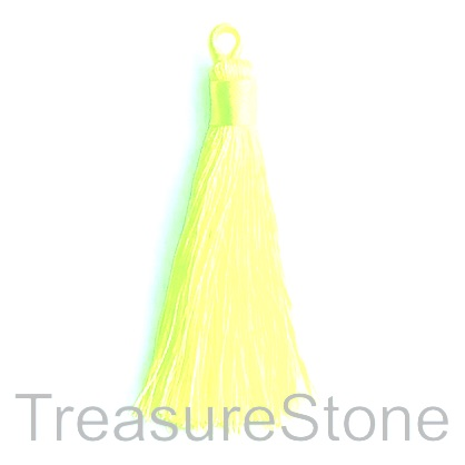 Tassel, silk, 8x68mm, neon yellow. Pack of 2