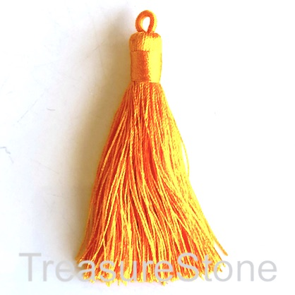 Tassel, silk, 8x68mm, orange. Pack of 2