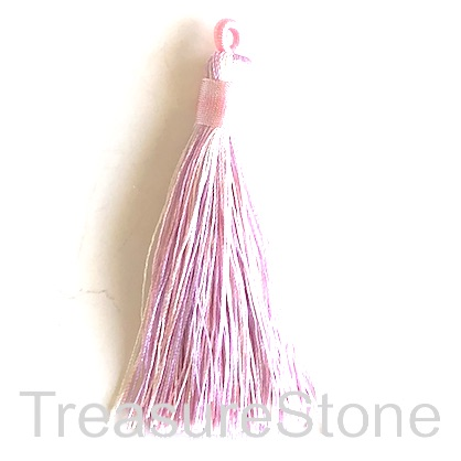 Tassel, silk, 8x68mm, pink, lilac. Pack of 2