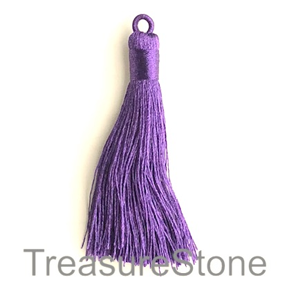 Tassel, silk, 8x68mm, purple. Pack of 2