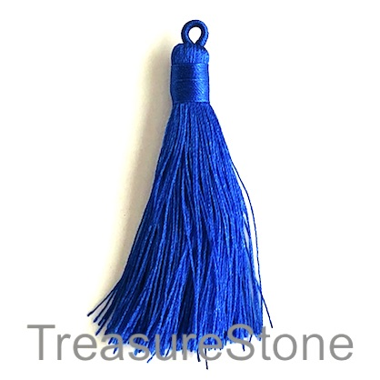 Tassel, silk, 8x68mm, royal blue. Pack of 2