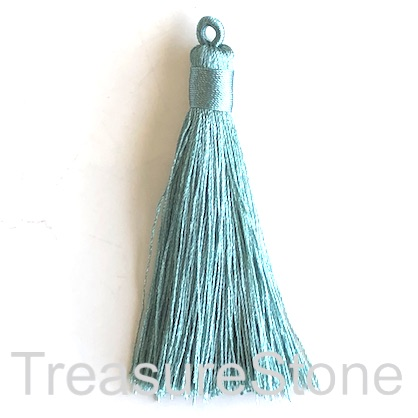 Tassel, silk, 8x70mm, turquoise. Pack of 2