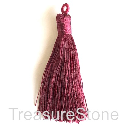 Tassel, silk, 8x68mm, wine. Pack of 2