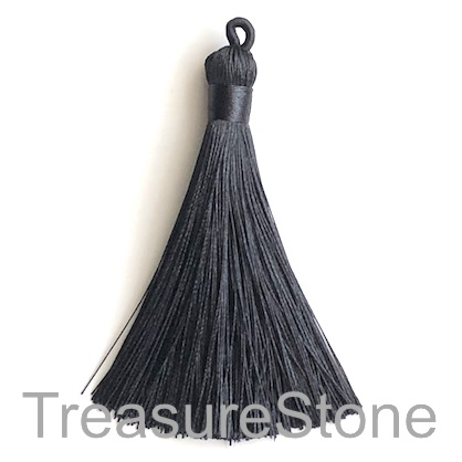Tassel, silk, 9x80mm, black. Each