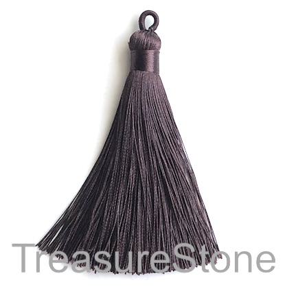 Tassel, silk, 9x80mm, dark brown. Each