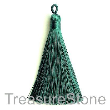 Tassel, silk, 9x80mm, emerald. Each