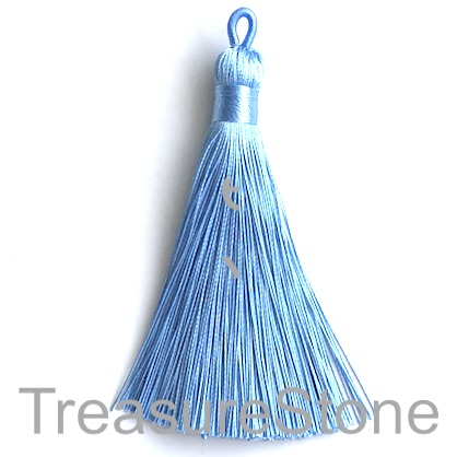 Tassel, silk, 9x80mm, light blue. Each