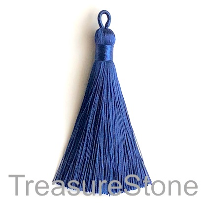 Tassel, silk, 9x80mm,navy blue. Each