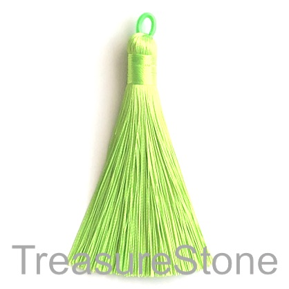 Tassel, silk, 9x80mm, neon green. Each