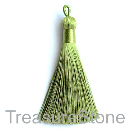 Tassel, silk, 9x80mm, olive green. Each