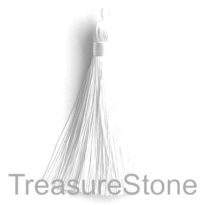 Tassel, silk, 9x80mm, white. Each