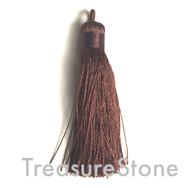 Tassel, silk, 10x68mm, brown. Sold individually.