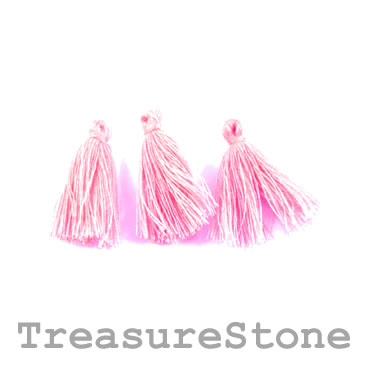 Tassel, cotton, 5x31mm, pink. Pkg of 12 pcs.