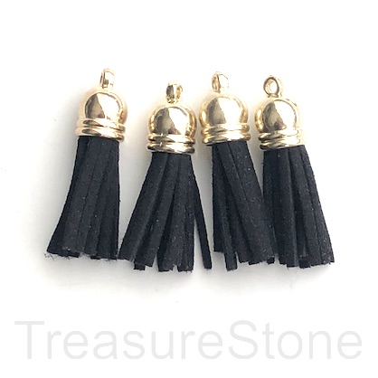 Tassel, faux leather, 10x30mm, black, gold top. 4pcs
