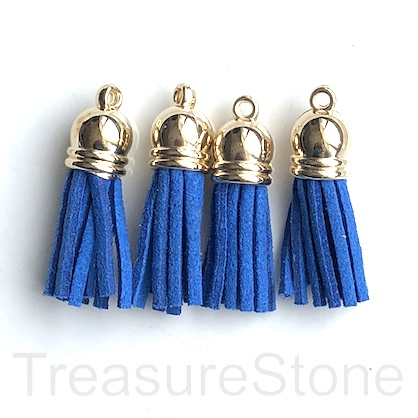 Tassel, faux leather, 10x30mm, blue, gold top. 4pcs