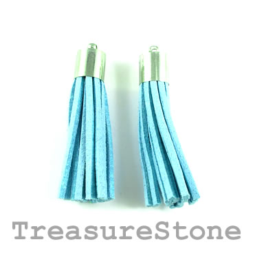 Tassel, faux leather, 10x50mm, blue. Pkg of 2pcs.
