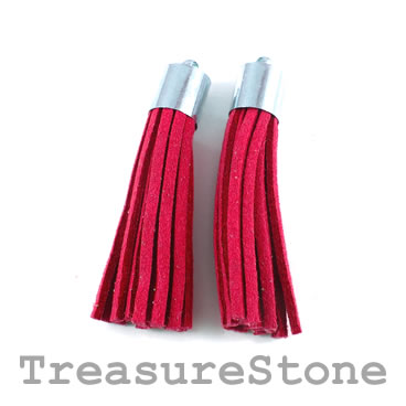 Tassel, faux leather, 10x50mm, burgundy. Pkg of 2pcs.