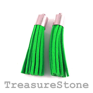 Tassel, faux leather, 10x50mm, emerald. Pkg of 2pcs.
