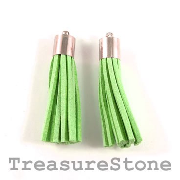 Tassel, faux leather, 10x50mm, green. Pkg of 2pcs.