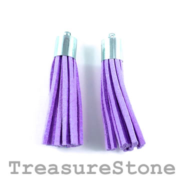 Tassel, faux leather, 10x50mm, purple. Pkg of 2pcs.