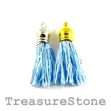 Tassel, silk, 10x38mm, blue. Pkg of 4 pcs.