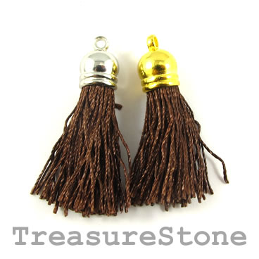 Tassel, silk, 10x38mm, brown. Pkg of 4 pcs.