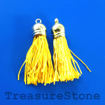 Tassel, silk, 10x38mm, gold, silver caps. Pkg of 4 pcs.