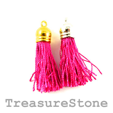 Tassel, silk, 10x38mm, hot pink. Pkg of 4 pcs.