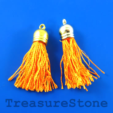Tassel, silk, 10x38mm, orange. Pkg of 4 pcs.