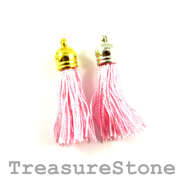Tassel, silk, 10x38mm, pink. Pkg of 4 pcs.