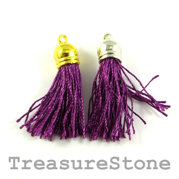 Tassel, silk, 10x38mm, purple. Pkg of 4 pcs.