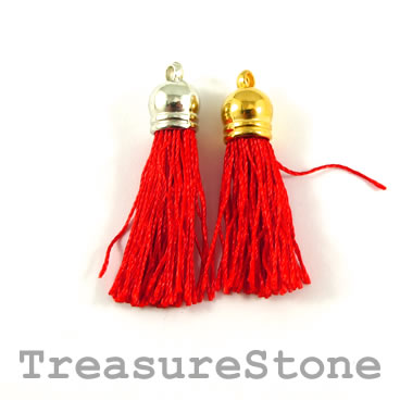 Tassel, silk, 10x38mm, red. Pkg of 4 pcs.