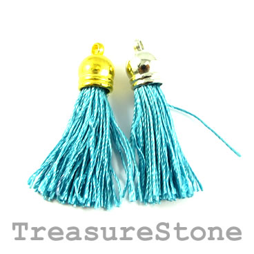Tassel, silk, 10x38mm, turquoise. Pkg of 4 pcs.