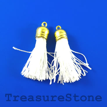 Tassel, silk, 10x68mm, white. Sold individually.