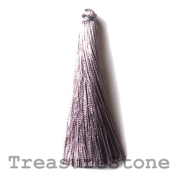Tassel, silk, 7x66mm, greyish purple. Pkg of 4.