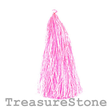 Tassel, silk, 6x90mm, bright pink. Pkg of 4.