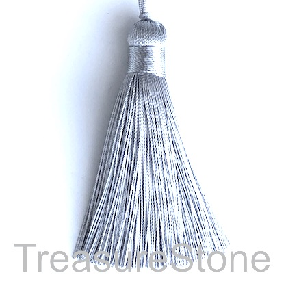 Tassel, silk, 11x80mm, silver/ light grey. Sold individually.