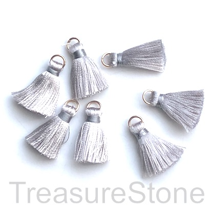 Small Tassel, silk, 5x20mm, light grey, gold ring. Pkg of 7 pcs.