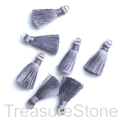 Small Tassel, silk, 5x20mm, mid grey, gold ring. Pkg of 7 pcs.