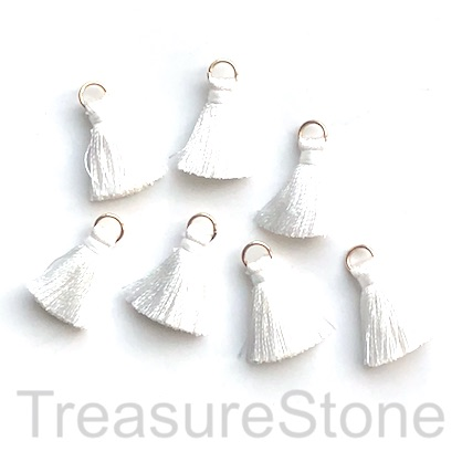 Small Tassel, silk, 5x20mm, white, gold ring. Pkg of 7 pcs.
