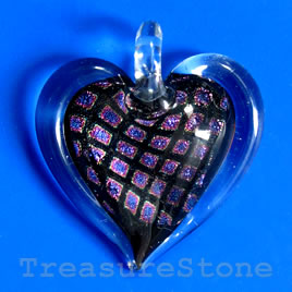 Pendant, lampwork glass, 32x34mm. Sold individually.