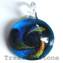 Pendant, lampwork glass, 33mm. Sold individually.