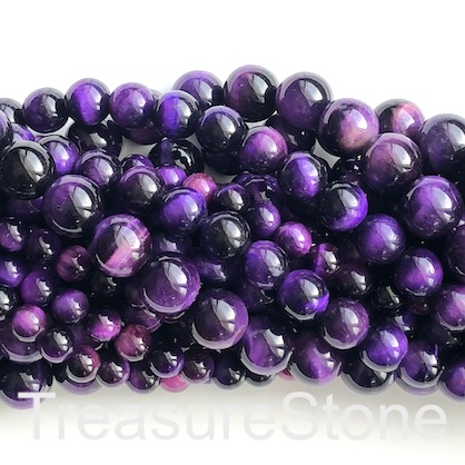 Bead, dyed Tiger's Eye, purple, 10mm round. 15-inch, 38pcs