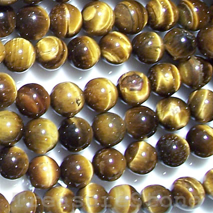 Bead, Tiger's Eye, 4mm round. 16-inch strand.