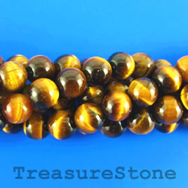 Bead, Tiger's Eye, 10mm round, grade A-. 15-inch strand, 37pcs